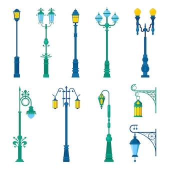 Szczegółowe lampy uliczne w stylu vintage i zestaw latarni.