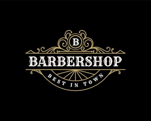 Szczegółowe logo barbershop w stylu vintage luksusowe ozdobne logo dla salonu tatuażu salon fryzjerski fryzjerski