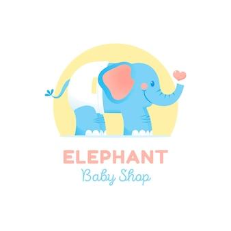Szczegółowe logo dziecka ze słoniem