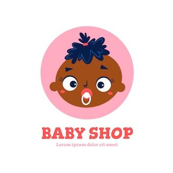 Szczegółowe logo niemowlęcia z niemowlęciem i smoczkiem