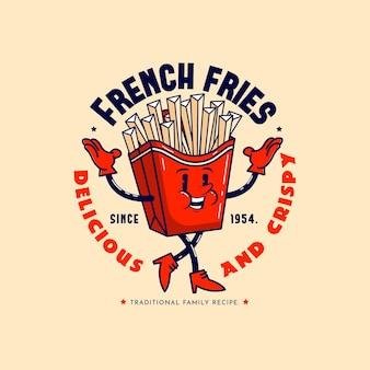 Szczegółowe logo restauracji retro kreskówka