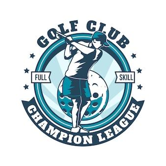 Szczegółowe logo rocznika golfa szablon