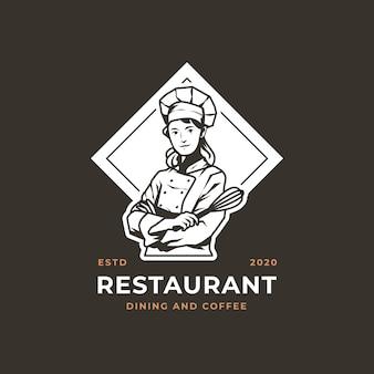 Szczegółowe logo szefa kuchni kobiet