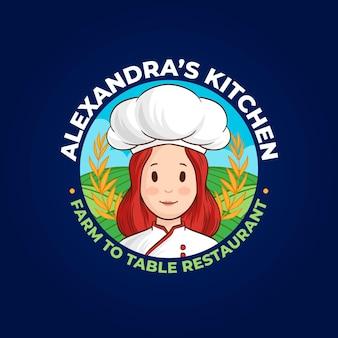 Szczegółowe logo szefa kuchni kobieta
