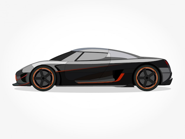 Szczegółowe nadwozie i felgi ilustracji wektorowych kreskówka kolorowy samochód płaski z czarnym efektem obrysu i cienia