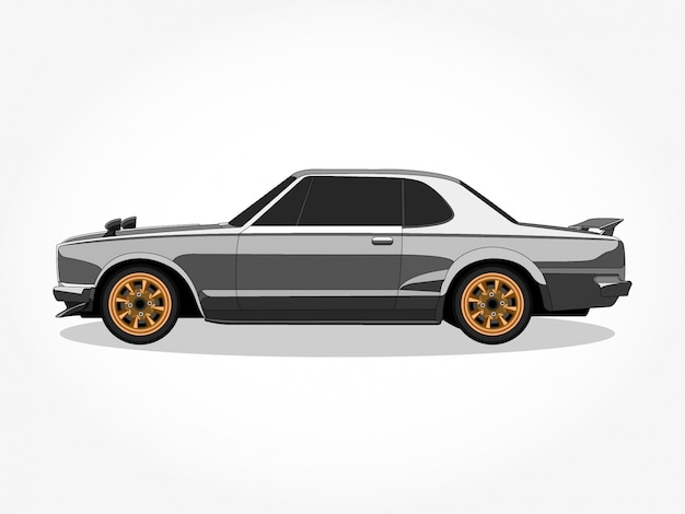 Szczegółowe nadwozie i felgi ilustracji wektorowych kreskówka kolorowy samochód z płaskim efektem czarnego pociągnięcia i cienia