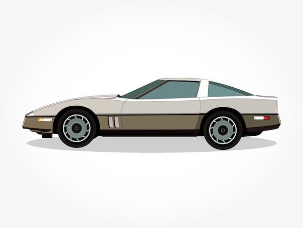 Szczegółowe nadwozie i felgi płaskiego kolorowego samochodu