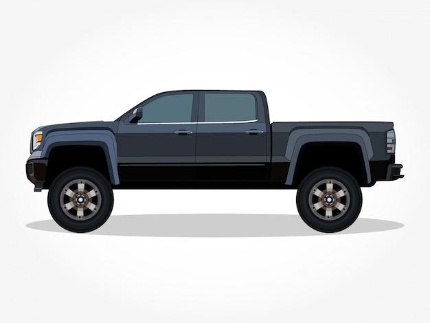 Szczegółowe nadwozie i felgi płaskiej kolorowej kreskówki klasycznego samochodu z czarnym efektem obrysu i cienia