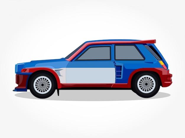 Szczegółowe nadwozie i felgi samochodowej kreskówki ilustraci