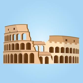 Szczegółowe najbardziej znane miejsce na świecie. koloseum w rzymie, włochy. wektor koloseum.