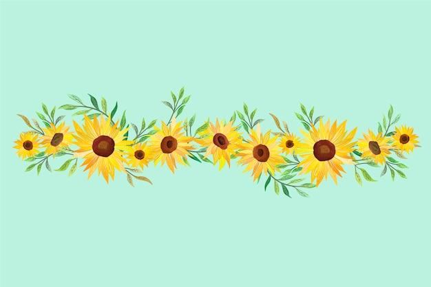 Szczegółowe naturalne obramowanie słonecznika