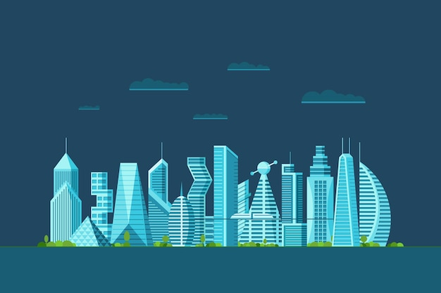 Szczegółowe nocne miasto przyszłości z różnymi budynkami architektonicznymi wieżowce apartamenty. futurystyczne wielopiętrowe miasto z grafiką w cyberpunku. ilustracja wektorowa nieruchomości miejskich budowy
