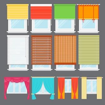 Szczegółowe okno na białym tle wektor zestaw