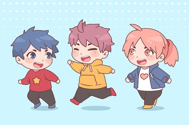 Szczegółowe postacie z anime chibi