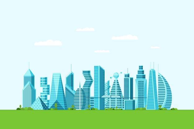 Szczegółowe przyszłe eko miasto z różnymi budynkami architektonicznymi, wieżowcami, apartamentami i zielonymi drzewami. futurystyczne wielopiętrowe graficzne miasto pejzaż. ilustracja wektorowa nieruchomości budowlanych eps
