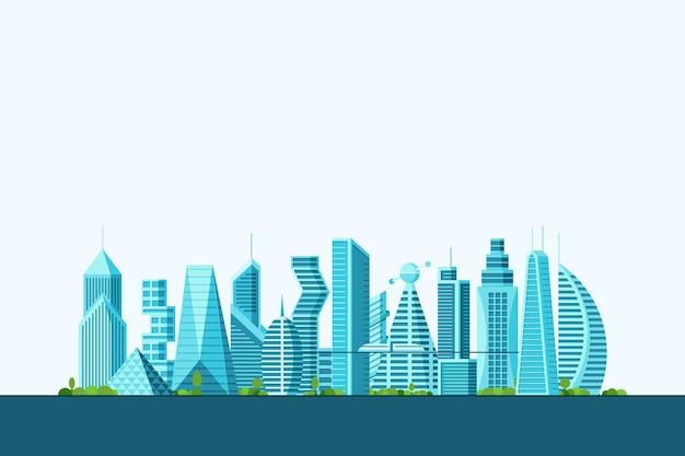Szczegółowe przyszłe miasto z różnymi budynkami architektonicznymi, wieżowcami, mieszkaniami i drzewami. futurystyczne wielopiętrowe miasto z grafiką w cyberpunku. ilustracja wektorowa nieruchomości budowlanych eps