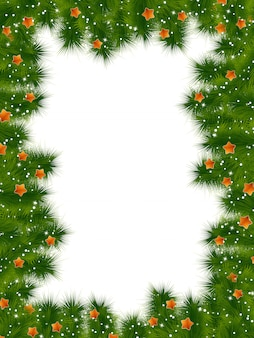 Szczegółowe realistyczne ramki świąteczne z jodłą i gwiazdami.