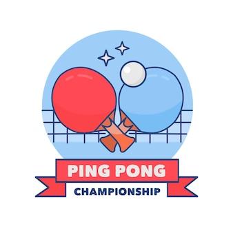 Szczegółowe ręcznie rysowane logo tenis stołowy