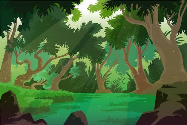 Szczegółowe tło dżungli