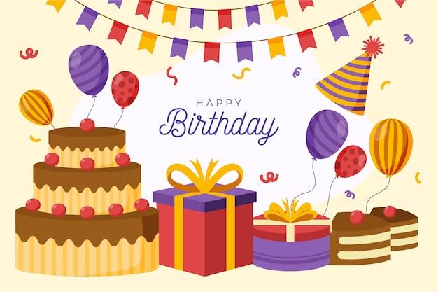 Szczegółowe tło urodziny z ciastem