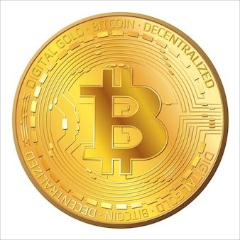 Szczegółowe złote monety bitcoin z przodu widok na białym tle. btc symbol nowoczesnego cyfrowego złota i pieniędzy. ilustracja wektorowa.