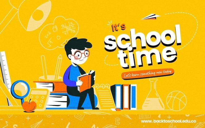 Szczegółowy baner z powrotem do szkoły