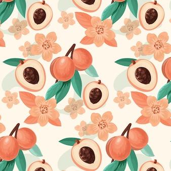Szczegółowy kwiatowy wzór w brzoskwiniowych odcieniach