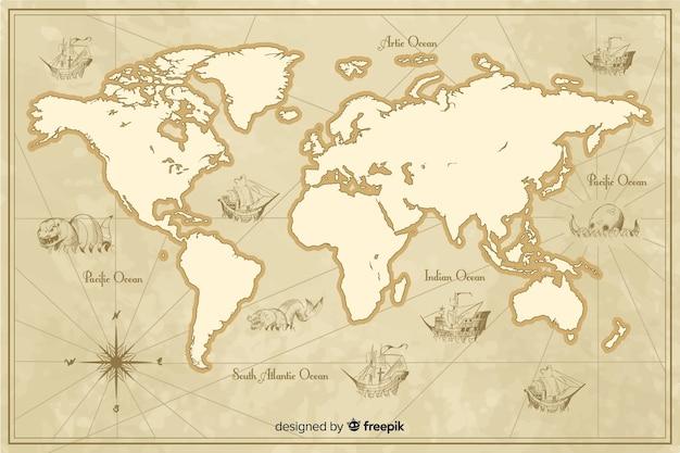 Szczegółowy motyw mapy świata w stylu vintage