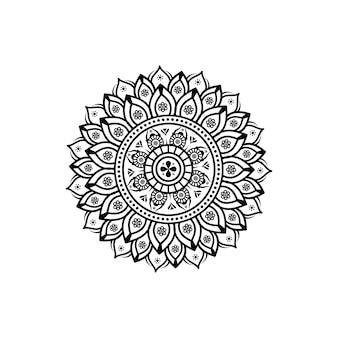 Szczegółowy okrągły kwiatowy mandali