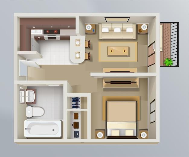 Szczegółowy plan wnętrza mieszkania widok z góry