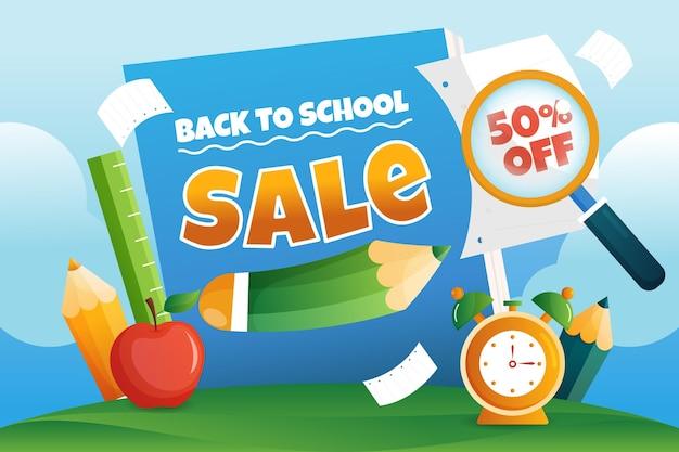 Szczegółowy powrót do szkolnego tła sprzedaży