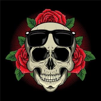 Szczegółowy projekt czaszki z różami i czarnymi okularami