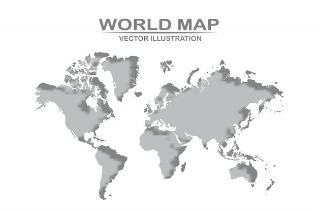 Szczegółowy projekt mapy świata w kolorze białym wyciętym z papieru. ilustracji wektorowych
