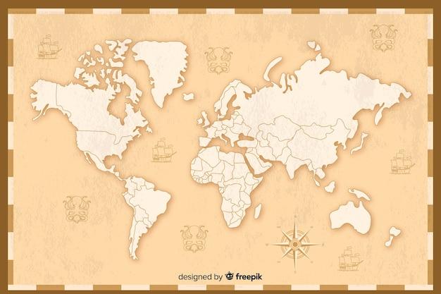 Szczegółowy projekt mapy świata w stylu vintage