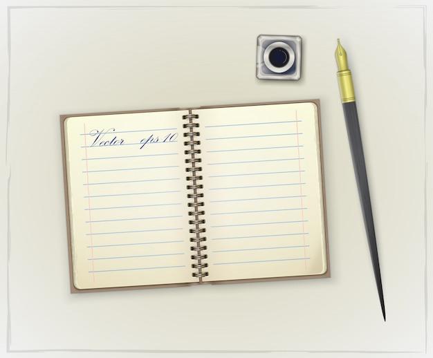 Szczegółowy retro notatnik, kałamarz i pióro