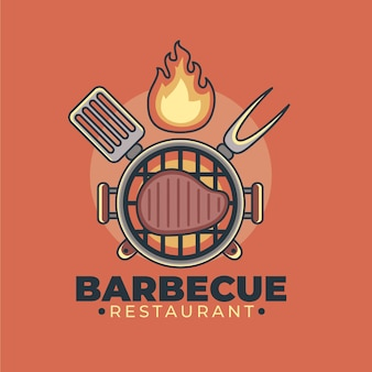 Szczegółowy szablon logo grilla