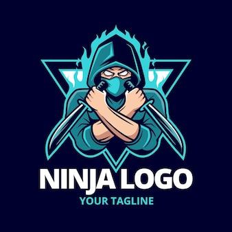 Szczegółowy szablon logo ninja