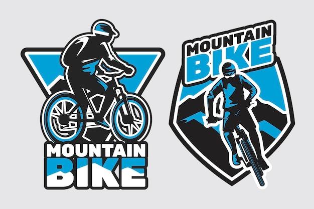 Szczegółowy szablon logo rower rowerzysta