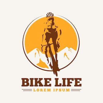 Szczegółowy szablon logo roweru