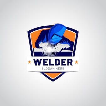 Szczegółowy szablon logo spawacza