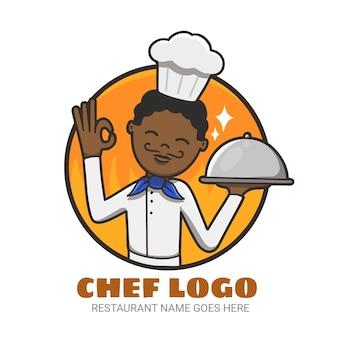 Szczegółowy szablon logo szefa kuchni