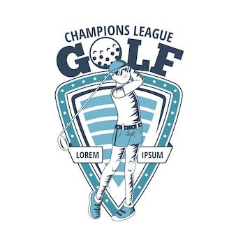 Szczegółowy szablon logo vintage golfa