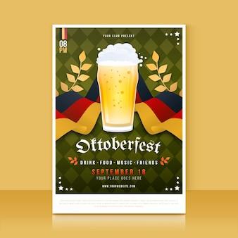 Szczegółowy szablon pionowego plakatu oktoberfest