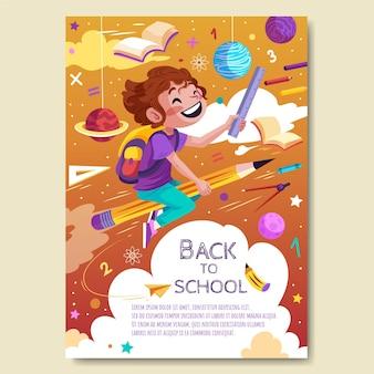 Szczegółowy szablon pionowego plakatu z powrotem do szkoły