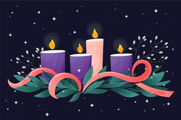Szczegółowy wieniec bożonarodzeniowy ze świecami i wstążką