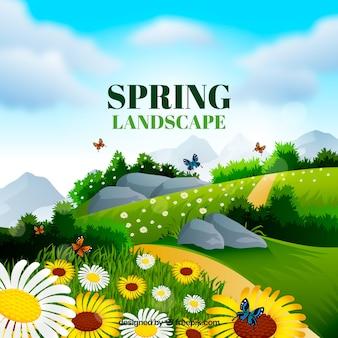 Szczegółowy wiosenny krajobraz