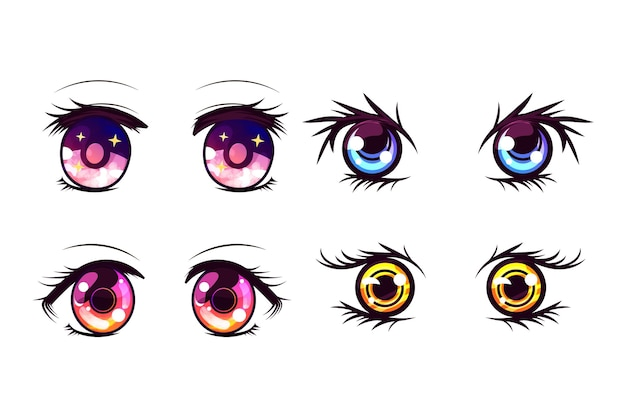Szczegółowy zestaw oczu anime