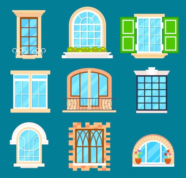 Szczegółowy zestaw okien na białym tle