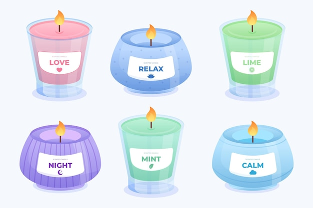 Szczegółowy zestaw świec zapachowych