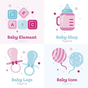 Szczegółowy zestaw szablonów logo słodkie dziecko